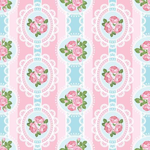 Shabby chic rosa sömlöst mönster på rosa bakgrund vektor