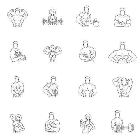 Bodybuilding fitness gym ikoner vektor