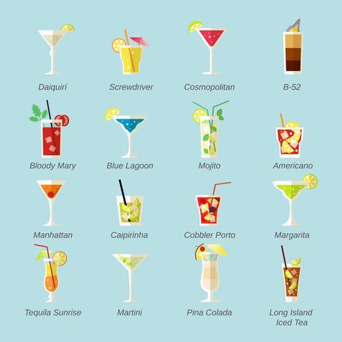 Alkohol Cocktails Icons Flat vektor