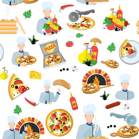 Pizza Maker Sömlös Mönster vektor