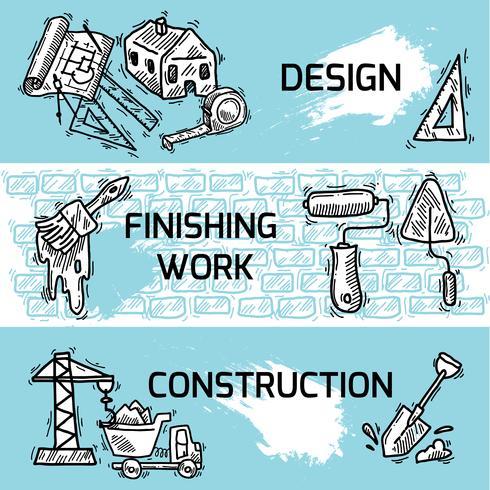 Konstruktion banner set vektor
