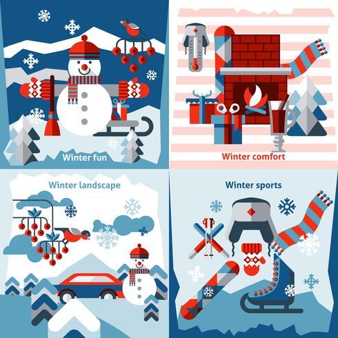 Flache Ikonen des Winters eingestellt vektor