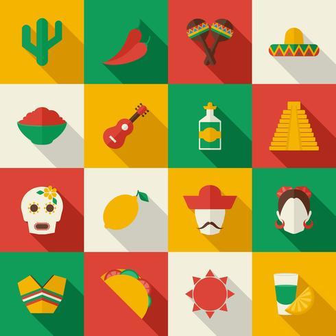 Mexiko platt ikoner uppsättning vektor