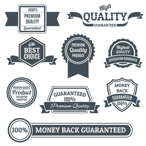 Kvalitetsetiketter svart uppsättning vektor