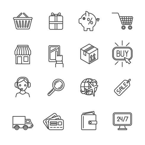 Shopping e-handelsikoner ställer in plattform vektor