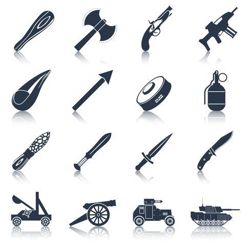 Waffensymbole schwarz gesetzt vektor