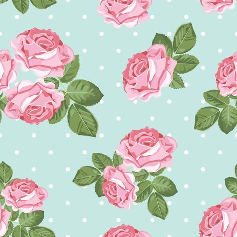 Shabby chic rosa sömlöst mönster på polka dot bakgrund vektor