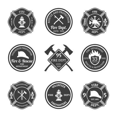 Feuerwehr-Embleme schwarz vektor