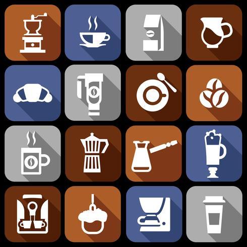 Kaffe ikoner platt skugguppsättning vektor