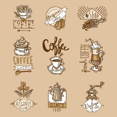 Kaffe Etiketter Set vektor