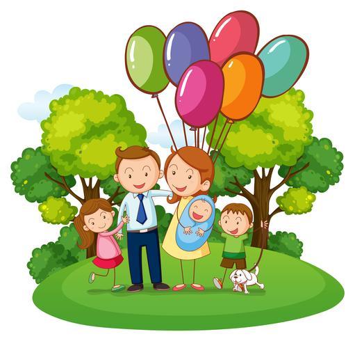 Familj med tre barn i parken vektor