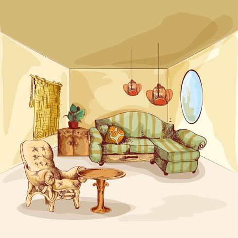 Wohnzimmer-Innenraumskizze vektor