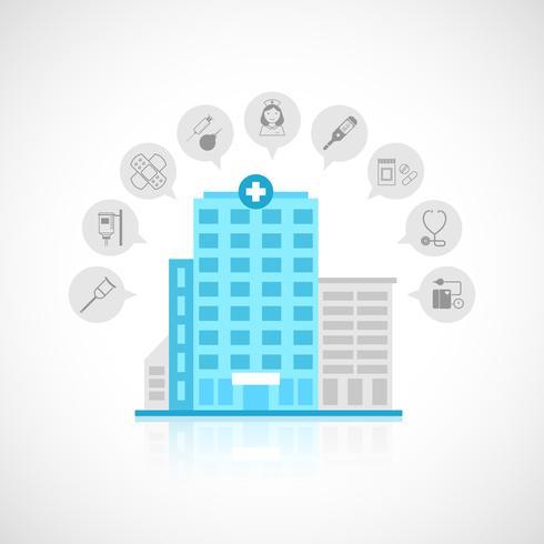 Medizinisches Gebäude flach vektor