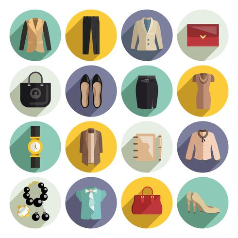 Geschäftsfrau-Kleidungs-Ikonen eingestellt vektor