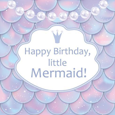 Födelsedagskort för liten tjej. Holografiska fisk- eller sjöjungfruskalor, pärlor och ramar vektor