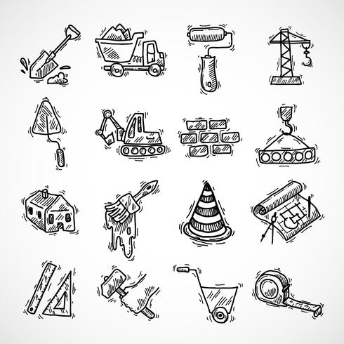 Konstruktion ikoner uppsättning vektor