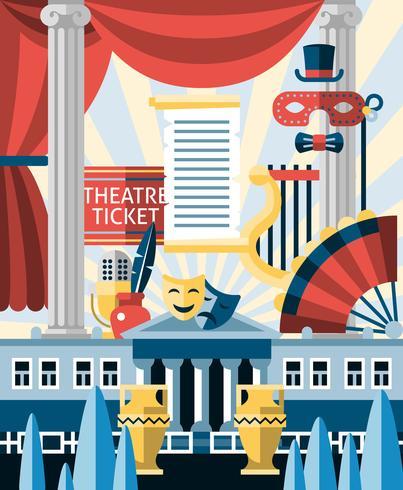 Teater ikoner koncept vektor