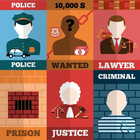 Verbrechen und Bestrafung Poster Set vektor