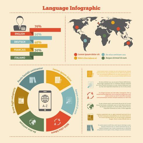 Übersetzung und Wörterbuch-Infografiken vektor