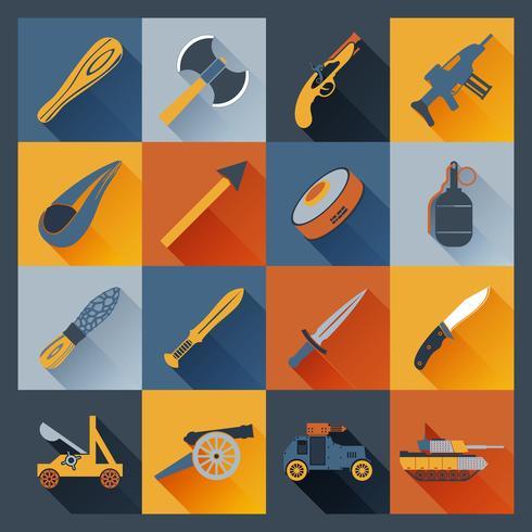 Waffe-Icons flach vektor