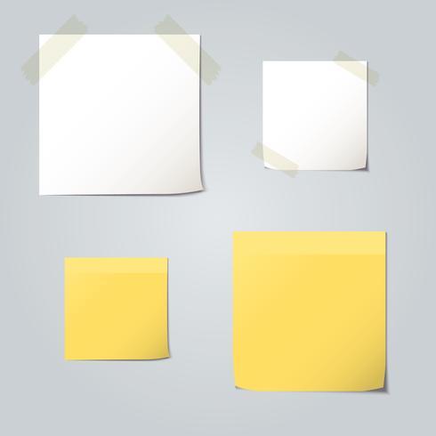 Weiße und gelbe gefaltete Papiersatzkollektionen vektor