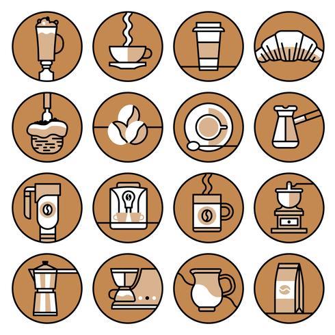 Kaffe ikoner brunt linje set vektor