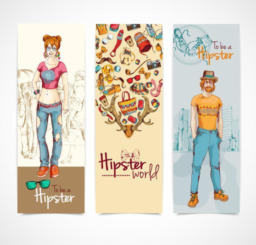 Hipster banners vertikala vektor