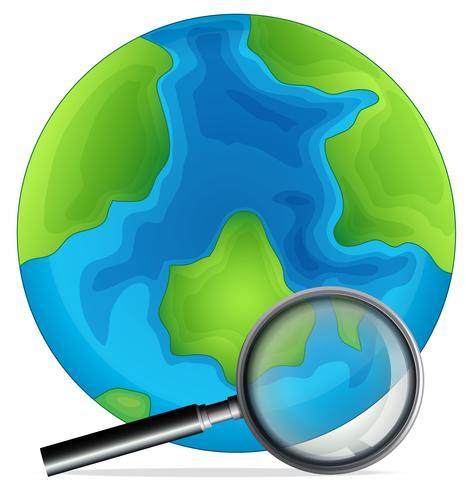 Ein Globus und eine Lupe vektor