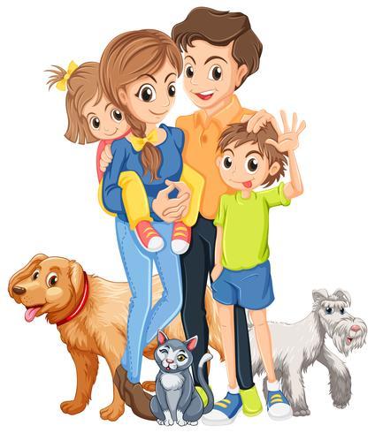 Familj med två barn och husdjur vektor