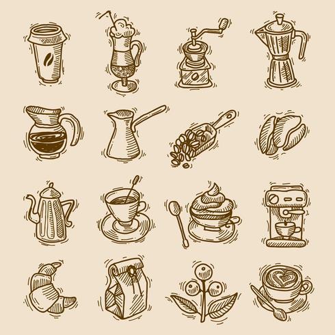 Kaffe skiss ikoner uppsättning vektor
