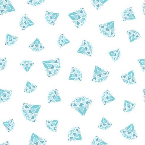 Seamless mönster av geometriska blå diamanter på vit bakgrund. Trendiga hipster kristaller design. vektor