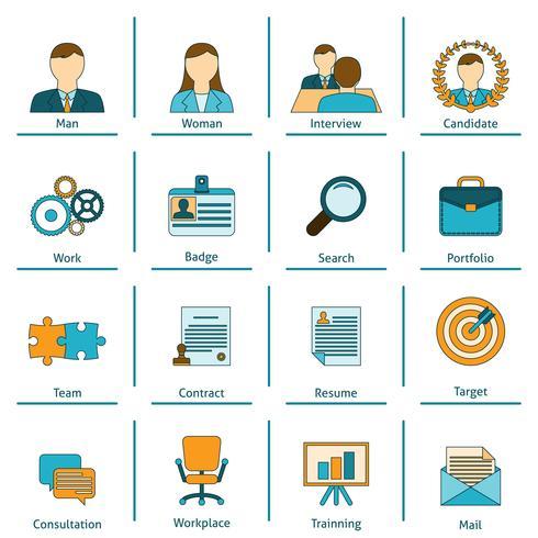 Mänskliga resurser plana ikoner uppsättning vektor
