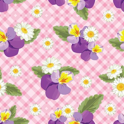 Blommigt sömlöst mönster. Pansies med chamomiles på rosa gingham, rutig bakgrund. Vektor illustration