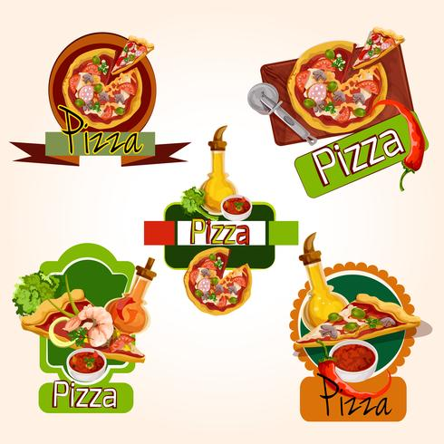 Pizza emblem sätta vektor