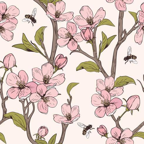 Blühender Baum Nahtloses Muster mit Blumen. Frühlingsblumenbeschaffenheit. Handgezeichnete botanische Vektor-Illustration vektor