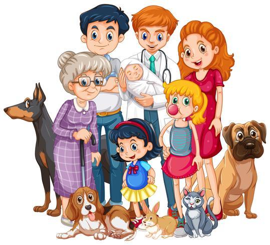 Familj med nyfödd bebis och många husdjur vektor