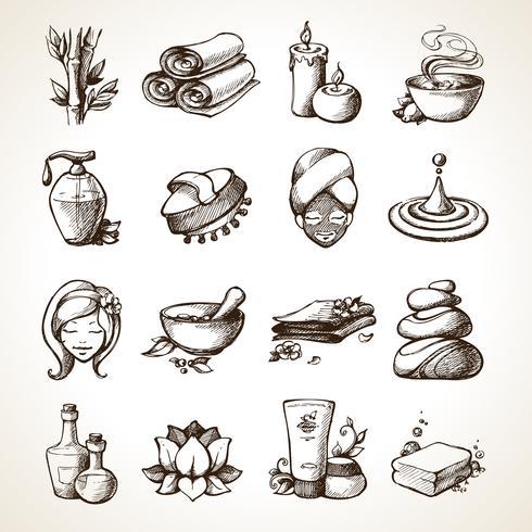 Spa-Skizze-Symbole vektor