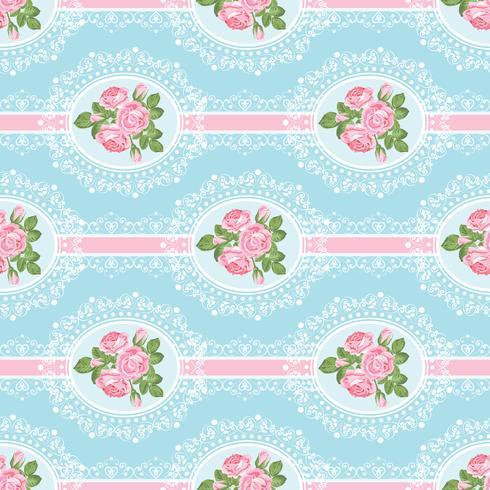 Shabby chic rosa sömlöst mönster på blå bakgrund vektor