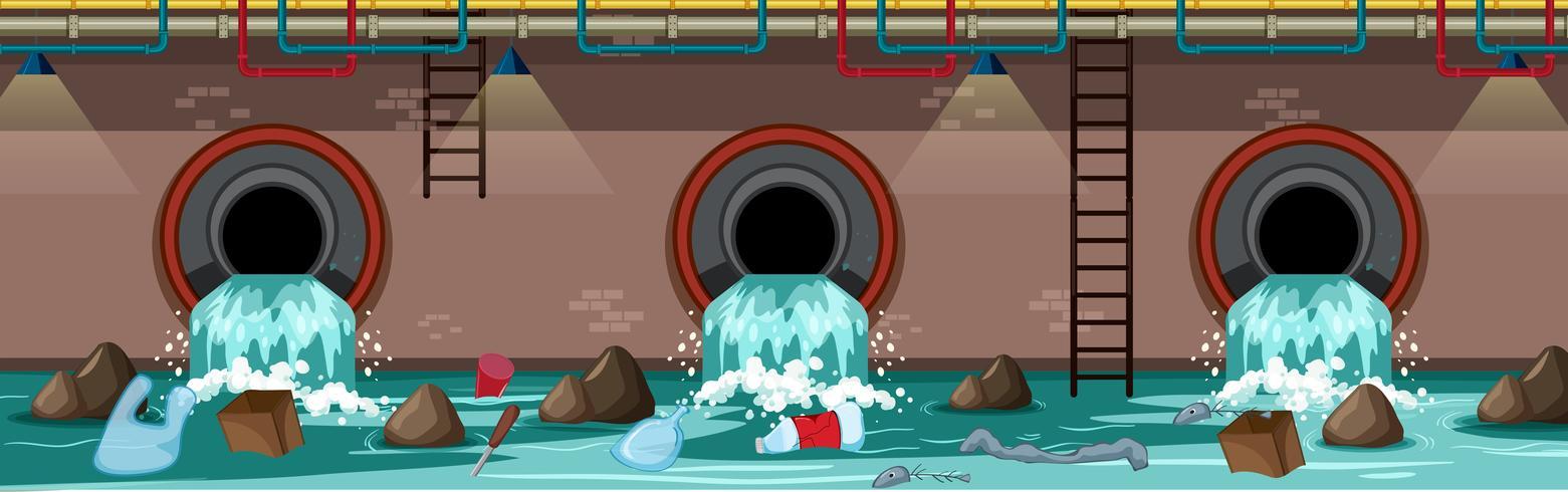 Waste Pipe Underground der Großstadt vektor