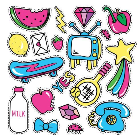 Klistermärken samlingar i pop art stil vektor