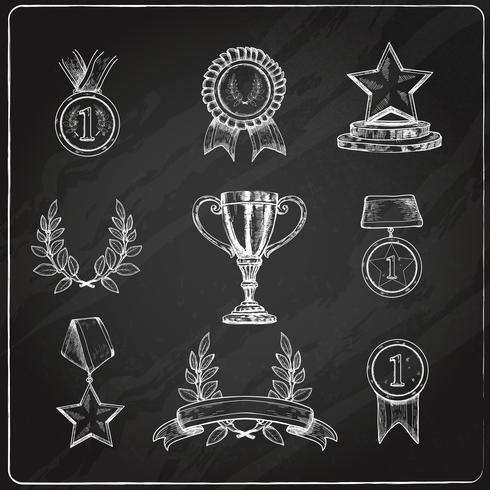 Award ikoner sätta tavlan vektor