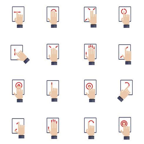 Hand, die flache Ikonen des Bildschirms berührt vektor