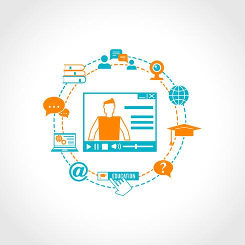 Online Utbildning Ikoner vektor