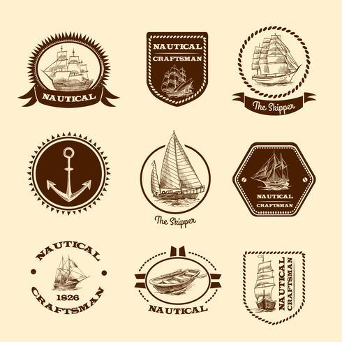 Skizzieren Sie nautische Embleme vektor