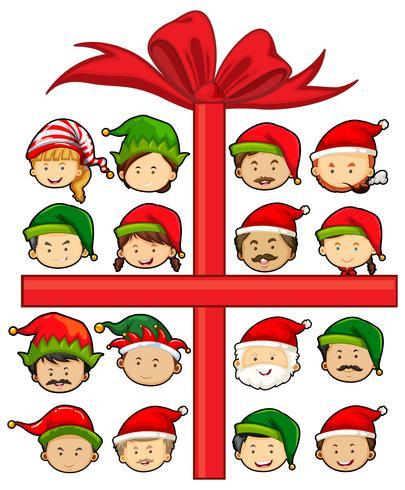 Jul tema med Santa och alver vektor