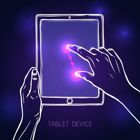 Hand halten Tablette vektor