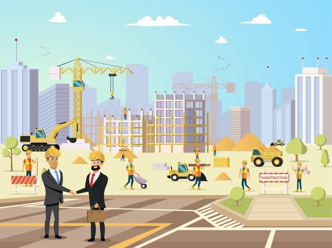 Deal möte med partner och entreprenör på byggnadskonstruktion vektor