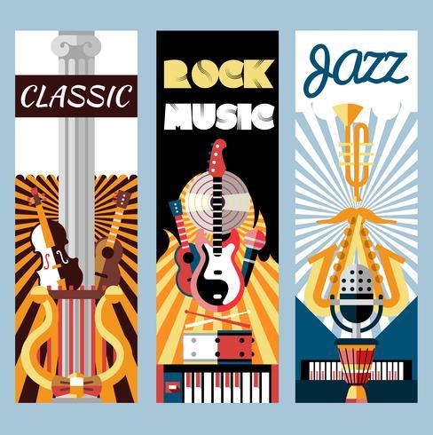 Musik flat banners set vektor