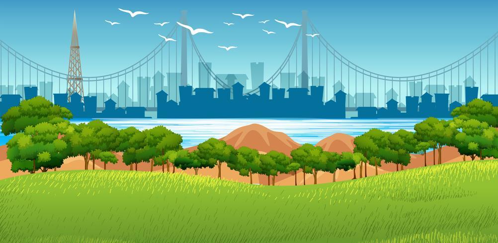 Hintergrundszene mit Gebäuden im Hintergrund und Park im Vordergrund vektor