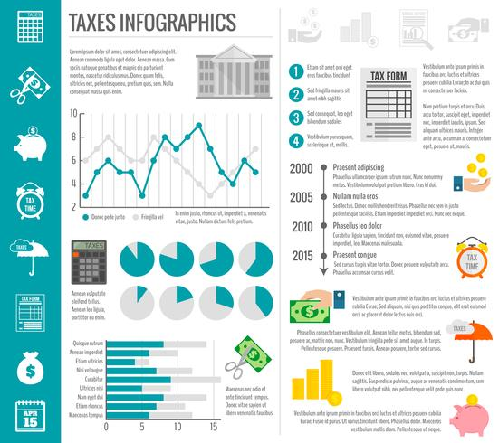 Steuerinfografiken gesetzt vektor
